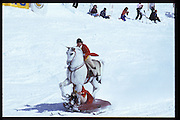 Cosmo Hulton &amp; David Kirke. Dangerous Sports Club ski race. St. Moritz. 1984.<br />