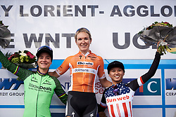 Top three: Amy Pieters (NED), Marianne Vos (NED) and Coryn Rivera (USA) at Grand Prix de Plouay - Lorient Agglomération WNT 2018. A 125.5 km road race in Plouay, France on August 25, 2018. Photo by Sean Robinson/velofocus.com