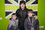 Forest Green Rovers George Williams(11) with his kit sponsor during the EFL Sky Bet League 2 match between Forest Green Rovers and Carlisle United at the New Lawn, Forest Green, United Kingdom on 28 January 2020.