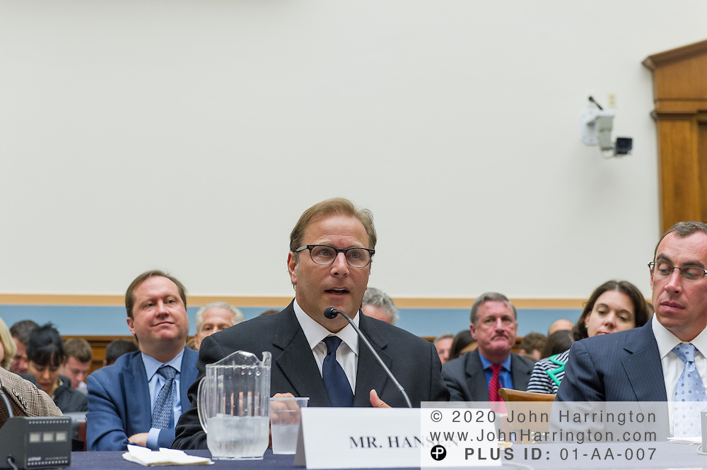 """Tor Hansen, Co-President/Co-Founder YepRoc Records/Redeye Distribution (center) delivers his testimony as to the U.S. House of Representatives Committee on the Judiciary, Subcommittee on Courts, Intellectual Property and the Internet on the subject """"Innovation in America: The Role of Copyrights"""", Thursday July 25, 2013 on Capitol Hill in Washington DC."""