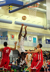 Essex Leopards' Simon Cummings shoots - Photo mandatory by-line: Dougie Allward/JMP - Tel: Mobile: 07966 386802 23/03/2013 - SPORT - Basketball - WISE Basketball Arena - SGS College - Bristol -  Bristol Academy Flyers V Essex Leopards