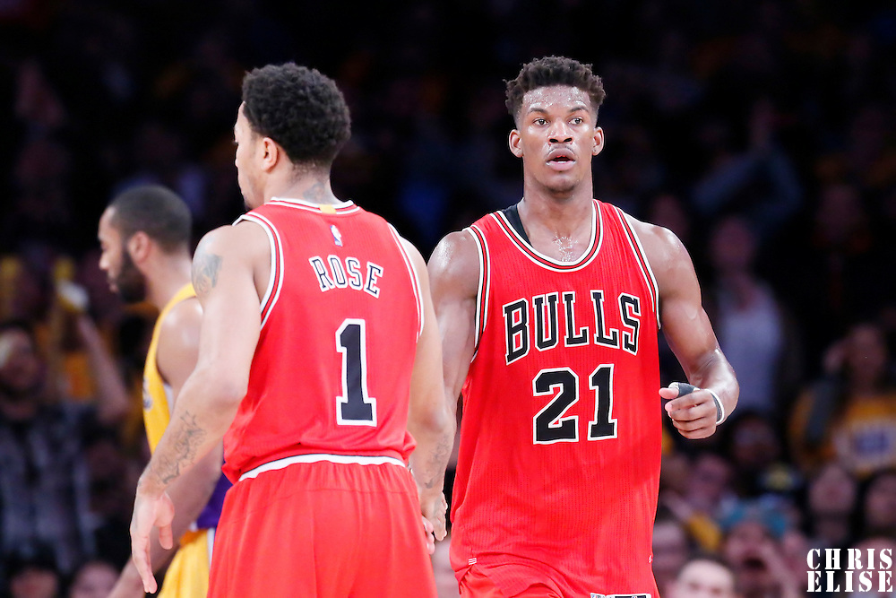 29 January 2015: Chicago Bulls guard Jimmy Butler (21) is congratulated by Chicago Bulls guard Derrick Rose (1) during the Los Angeles Lakers 123-118 2OT victory over the Chicago Bulls, at the Staples Center, Los Angeles, California, USA.