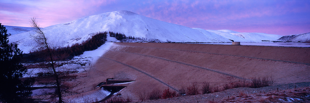 The Dam at Megget Reservoir in the Scottish Borders, just after sunset.
