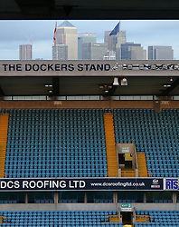A general view of the London skyline beyond Millwall's The Den - Mandatory by-line: Joe Dent/JMP - 28/02/2017 - FOOTBALL - The Den - London, England - Millwall v Peterborough United - Sky Bet League One