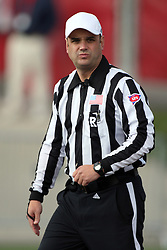 20 October 2012:  Referee Curt Johnson during an NCAA Missouri Valley Football Conference football game between the Missouri State Bears and the Illinois State Redbirds at Hancock Stadium in Normal IL