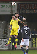 Declan Gallagher out jumps Derek Lyle - Dundee  v Queen of the South - SPFL Championship at Dens Park<br /> <br />  - &copy; David Young - www.davidyoungphoto.co.uk - email: davidyoungphoto@gmail.com