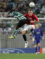 Photo: Paul Thomas.<br /> Sporting Lisbon v Manchester United. UEFA Champions League Group F. 19/09/2007.<br /> <br /> Nemanja Vidic of Utd  beats Joao Moutinho to the ball.