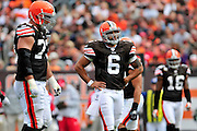 Sept. 19, 2010; Cleveland, OH, USA; Cleveland Browns quarterback Seneca Wallace (6) expresses his frustration after a falls start penalty during the fourth quarter against the Kansas City Chiefs at Cleveland Browns Stadium. Mandatory Credit: Jason Miller-US PRESSWIRE