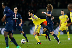 David Luiz of Paris Saint-Germain pulls the shirt of Chelsea Cesc Fabregas - Photo mandatory by-line: Rogan Thomson/JMP - 07966 386802 - 17/02/2015 - SPORT - FOOTBALL - Paris, France - Parc des Princes - Paris Saint-Germain v Chelsea - UEFA Champions League, Last 16, First Leg.