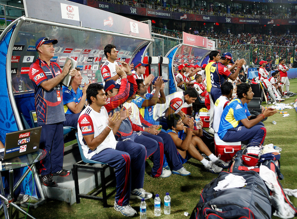 Delhi daredevils team members celebrate after winning the match 26 of the Indian Premier League ( IPL ) Season 4 between the Delhi Daredevils and the Kings XI Punjab held at the Feroz Shah Kotla Stadium in Delhi, India on the 23rd April 2011..Photo by Money Sharma/BCCI/SPORTZPICS