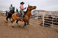 Barrel Racing, begins run, Rocky Boy Rodeo, Rocky Boy Indian Reservation, Montana, Kiera Simonson, Chippewa, INFR World Champion