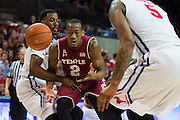 DALLAS, TX - FEBRUARY 19: Will Cummings #2 of the Temple Owls has the ball stripped by Ryan Manuel #1 of the SMU Mustangs on February 19, 2015 at Moody Coliseum in Dallas, Texas.  (Photo by Cooper Neill/Getty Images) *** Local Caption *** Will Cummings; Ryan Manuel