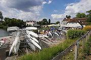 Maidenhead, ENGLAND. General view overlooking the  boat park area at Maidenhead Rowing club,    Maidenhead Town Regatta, River Thames.  16:59:50  Saturday  08/08/2015   [Mandatory Credit. Peter SPURRIER/ Intersport Images.