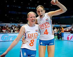 20-08-2009 VOLLEYBAL: WGP FINALS DUITSLAND - NEDERLAND: TOKYO<br /> Nederland wint ook de tweede wedstrijd. Ditmaal werd Duitelsnad met 3-2 verslagen / Alice Blom en Chaine Staelens<br /> ©2009-WWW.FOTOHOOGENDOORN.NL