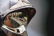 May 23-27, 2018: Monaco Grand Prix. Daniel Ricciardo (AUS), Aston Martin Red Bull Racing, RB14 reflected in a Monaco marshals helmet