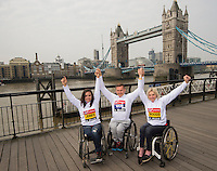 Virgin Money London Marathon 2015<br /> <br /> Left to right<br /> Jade Jones UK, David weir UK & Shelly Woods (UK)<br /> <br /> IPC Athletes competing in the IPC World Championships.<br /> <br /> Photo: Bob Martin for Virgin Money London Marathon<br /> <br /> This photograph is supplied free to use by London Marathon/Virgin Money.