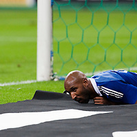05 September 2009: French forward Nicolas Anelka lays down on the field during the World Cup 2010 qualifying football match France vs. Romania (1-1), on September 5, 2009 at the Stade de France stadium in Saint-Denis, near Paris, France.