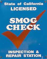 SAN FRANCISCO - JANUARY 2:  A sign is seen at a smog check station January 2, 2008 in San Francisco, California.  California sued the EPA after the federal agency stepped in to block a new state emissions law. Fifteen other states joined in the lawsuit with California.  (Photograph by David Paul Morris)