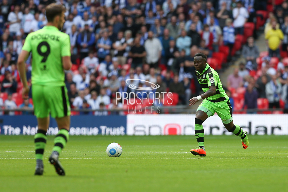 Forest Green Rovers Drissa Traoré(4) runs forward during the Vanarama National League Play Off Final match between Tranmere Rovers and Forest Green Rovers at Wembley Stadium, London, England on 14 May 2017. Photo by Shane Healey.