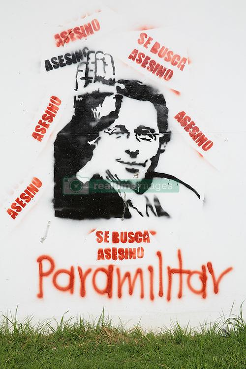 Graffitis und Street Art in Bogota / 240916<br /> <br /> ***        <br /> <br /> Picture of the former Colombian president Álvaro Uribe Vélez. Street art and sprayed slogans in the Colombian capital Bogota, Colombia, September 24, 2016 ***