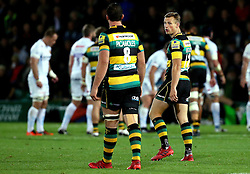 Rory Hutchinson of Northampton Saints turns to speak to Louis Picamoles of Northampton Saints - Mandatory by-line: Robbie Stephenson/JMP - 30/09/2016 - RUGBY - Franklin's Gardens - Northampton, England - Northampton Saints v Exeter Chiefs - Aviva Premiership