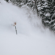 Tanner Flanagan skis a massive winter storm full of powder outside the boundaries of JHMR.