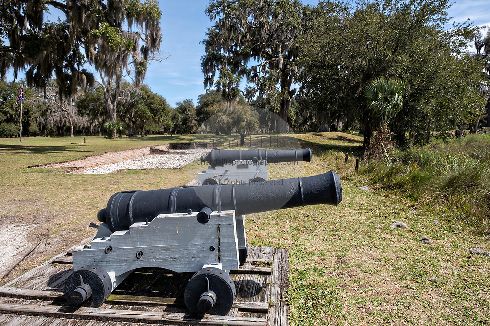 The original cannons at the Fort Frederica National Monument, the original colonial settlement in St. Simons Island, Georgia. Fort Frederica was established by Georgia founder James Oglethorpe in 1736 to serve as a bulwark against the Spanish settlements in Florida,