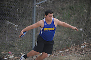 Oxford High's Christian Sanchez throws the discus during the Oxford Eagle Invitational track meet at Oxford High School in Oxford, Miss. on Saturday, March 9, 2013.