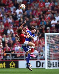 Luke Freeman of Bristol City collides with Harlee Dean of Brentford - Mandatory by-line: Paul Knight/JMP - Mobile: 07966 386802 - 15/08/2015 -  FOOTBALL - Ashton Gate Stadium - Bristol, England -  Bristol City v Brentford - Sky Bet Championship