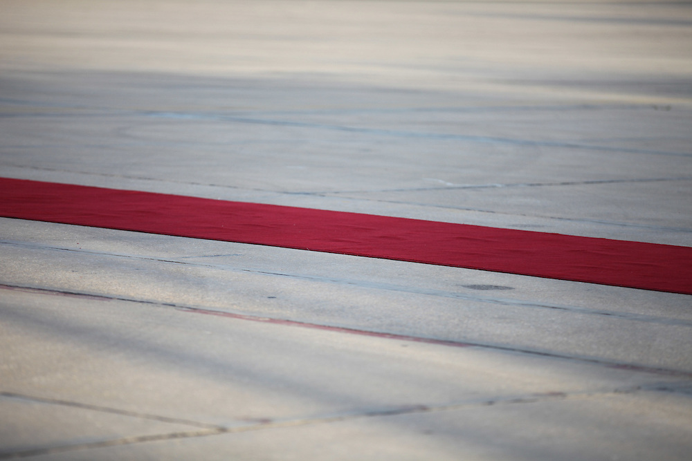 The red carpet set to welcome Ahmadinejad at Beirut's airport.