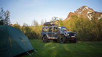 Þórsmörk campsite, South Iceland. Tent and Land Rover with Mountain bike on top.