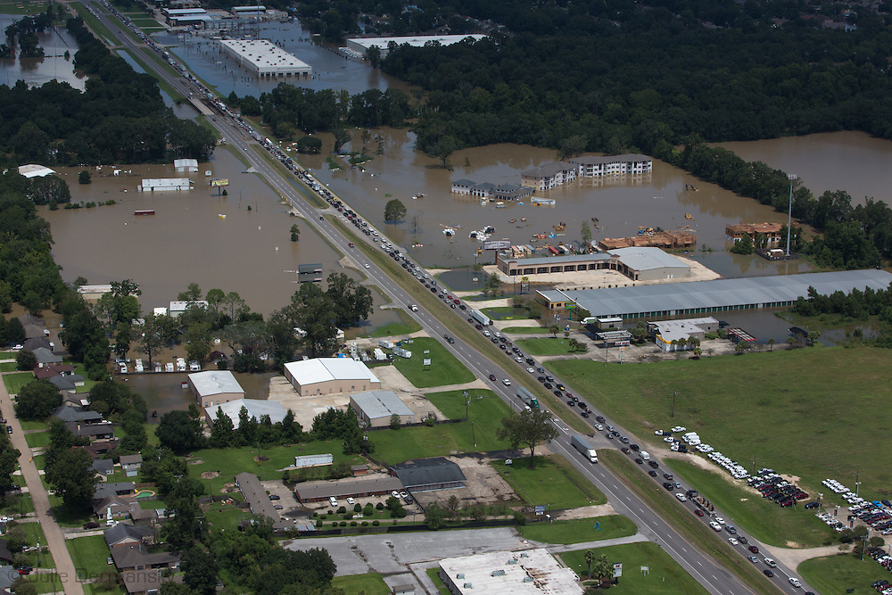 Flooding near Baton Rouge, part of a 1000-year flood that hit Southern Louisiana in August 2016.
