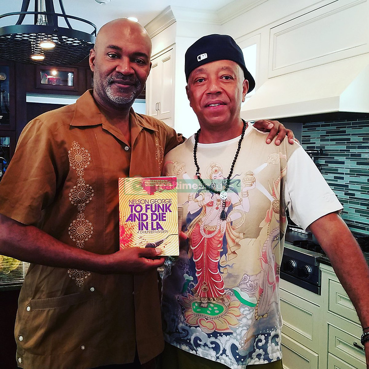 "Russell Simmons releases a photo on Twitter with the following caption: """"With @UncleRUSH and my new novel #tofunkanddieinla @AkashicBooks in Cali. Pub date 9/5/17. #music #blackculture #LosAngeles"""". Photo Credit: Twitter *** No USA Distribution *** For Editorial Use Only *** Not to be Published in Books or Photo Books ***  Please note: Fees charged by the agency are for the agency's services only, and do not, nor are they intended to, convey to the user any ownership of Copyright or License in the material. The agency does not claim any ownership including but not limited to Copyright or License in the attached material. By publishing this material you expressly agree to indemnify and to hold the agency and its directors, shareholders and employees harmless from any loss, claims, damages, demands, expenses (including legal fees), or any causes of action or allegation against the agency arising out of or connected in any way with publication of the material."
