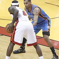 21 June 2012: Oklahoma City Thunder shooting guard Thabo Sefolosha (2) defends on Miami Heat small forward LeBron James (6) during the Miami Heat 121-106 victory over the Oklahoma City Thunder, in Game 5 of the 2012 NBA Finals, at the AmericanAirlinesArena, Miami, Florida, USA. The Miami Heat wins the series 4-1.