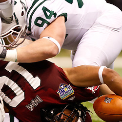 December 18, 2010; New Orleans, LA, USA; Troy Trojans wide receiver Tebiarus Gill (10) crosses the goal for a touchdown against the Ohio Bobcats during the first half of the 2010 New Orleans Bowl at the Louisiana Superdome.  Mandatory Credit: Derick E. Hingle