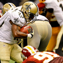 September 9, 2012; New Orleans, LA, USA; New Orleans Saints running back Darren Sproles (43) against the Washington Redskins during the second half of a game at the Mercedes-Benz Superdome. The Redskins defeated the Saints 40-32. Mandatory Credit: Derick E. Hingle-US PRESSWIRE