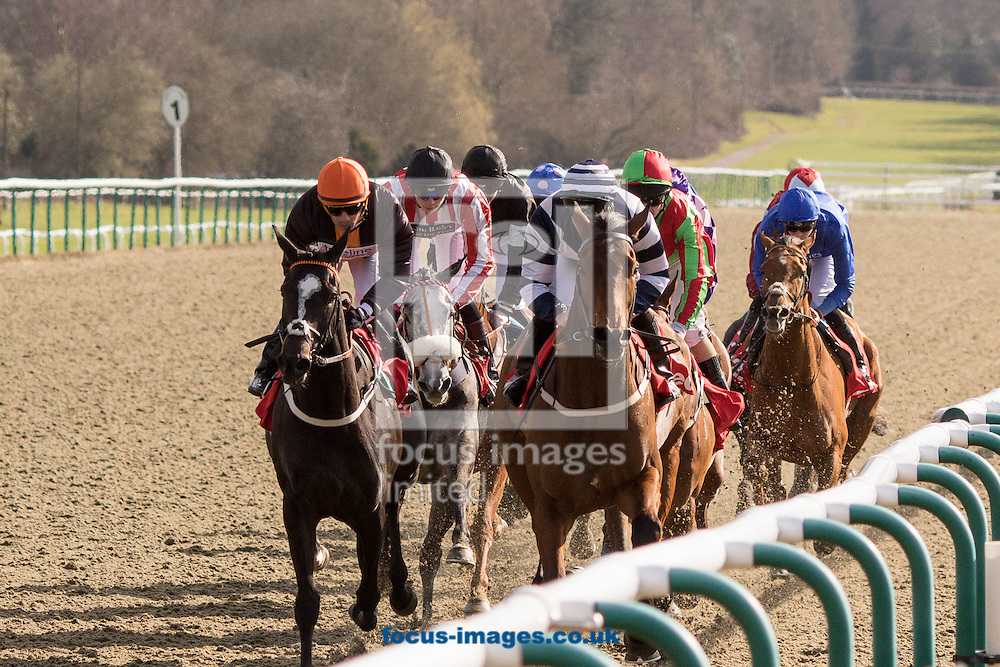 Moonrise Landing ridden by Jim Crowley (MAROON, LIGHT BLUE sleeves) wins the 32Red All-Weather Marathon Championships Conditions Stakes during the All Weather Championship at Lingfield Park, Sussex.<br /> Picture by Mark Chappell/Focus Images Ltd +44 77927 63340<br /> 25/03/2016