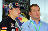 (L to R): Max Verstappen (NLD) Scuderia Toro Rosso Test Driver with his father Jos Verstappen (NLD).<br /> Japanese Grand Prix, Friday 3rd October 2014. Suzuka, Japan.