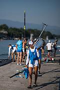 Plovdiv BULGARIA. 2017 FISA. Rowing World U23 Championships. <br /> <br /> Friday Boat Area. Boat Racks Pontoons.<br /> <br /> 08:20:00  Friday  21.07.17   <br /> <br /> [Mandatory Credit. Peter SPURRIER/Intersport Images].