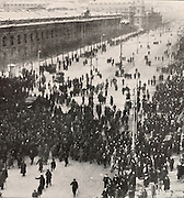 Crowds marching towards the Duma or parliament building in Petrograd, later St Petersburg, during the Russian Revolution, 12th March 1917, photograph by Karl Bulla, 1853-1929, published in L'Illustration no.3868, 21st April 1917. Picture by Manuel Cohen