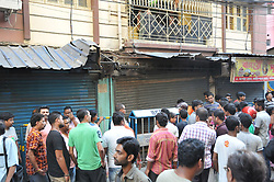 October 2, 2018 - Kolkata, West Bengal, India - A low-intensity socket bomb explosion in Kolkata killing an eight year old has sparked political controversy in West Bengal. At least 9 people, including the child's mother has been injured.....The blast took place at Kazipara, Nagerbazar, outside the office of Panchu Roy, the chairperson of South Dum Dum Municipality. The police confirmed the explosion was caused by a crude bomb and was not a cylinder blast as was conceived initially. (Credit Image: © Debajyoti Chakraborty/NurPhoto/ZUMA Press)