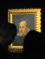 35559258© Licensed to London News Pictures. 27/10/2011. London, UK. A previously unknown portrait by the Spanish artist Diego Rodriguez de Silva y Velazquez (1599-1660) is unveiled at Bonhams Auction House in London today, 27th October. The work is a portrait of a gentleman in a black tunic and white collar and is expected to fetch 2-3million GBP.  Photo: Stephen Simpson/LNP