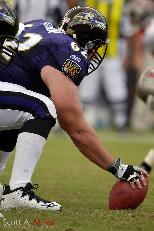 Sept. 10, 2006; Tampa, FL, USA; Baltimore Ravens center Mike Flynn during the Ravens game against the Tampa Bay Buccaneers at Raymond James Stadium. ©2006 Scott A. Miller