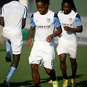 Wilmington Hammerheads FC's Andrae Campbell warms up before their friendly match against Toronto FC Wednesday June 18, 2014 at Legion Stadium in Wilmington, N.C. (Jason A. Frizzelle)