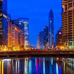 Downtown Chicago River at night cityscape with State Street Bridge (Bataan-Corregidor Memorial Bridge) and Marina City Towers. Photo is ultra high resolution with a panoramic ratio of 1:3. Copyright ⓒ 2019 Paul Velgos with All Rights Reserved.