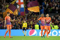 Fernandinho of Manchester City cuts a dejected figure as Lionel Messi of Barcelona scores - Mandatory by-line: Dougie Allward/JMP - 19/10/2016 - FOOTBALL - Camp Nou - Barcelona, Catalonia - FC Barcelona v Manchester City - UEFA Champions League