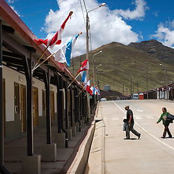 The town of Carhuacoto, in the central Peruvian Andes. This entire town was built by Chinese mining company Chinalco to relocate the residents of Morococha, where they will build the Toromocho Project. Chinalco claims to have spent at least US$50 million to build the new town.