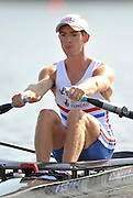 Poznan, POLAND,   GBR LM1X - Adam FREEMAN PASK competing in the heats of the lightweight men's single sculls, on the first day of the, 2009 FISA World Rowing Championships. held on the Malta Rowing lake, Sunday 23/08/2009 [Mandatory Credit. Peter Spurrier/Intersport Images]