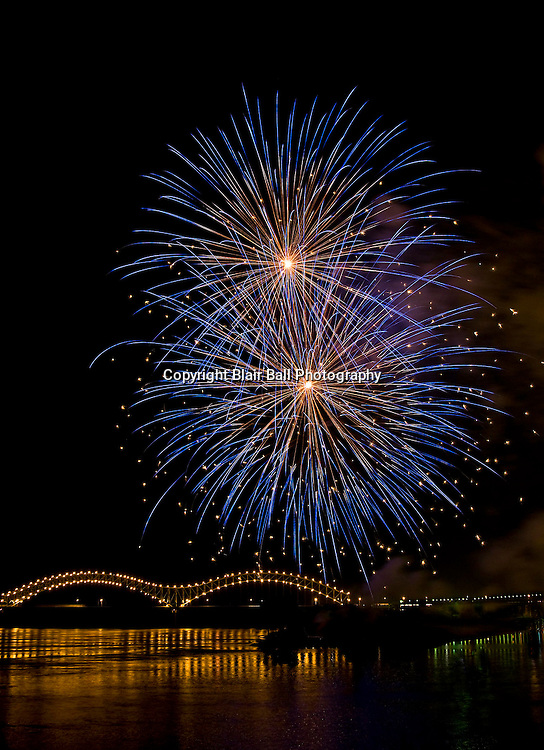 4th of July fireworks over Mississippi River Downtown Memphis