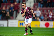 Steven MacLean (#18) of Heart of Midlothian FC celebrates after scoring a goal during the Betfred Scottish Football League Cup quarter final match between Heart of Midlothian FC and Aberdeen FC at Tynecastle Stadium, Edinburgh, Scotland on 25 September 2019.